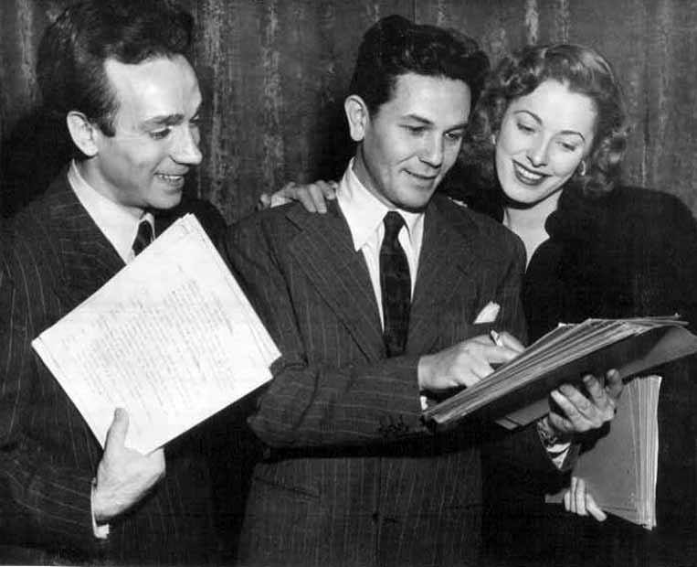 Dane Clark, John Garfield and Eleanor Parker on the Lux Radio Theater version of