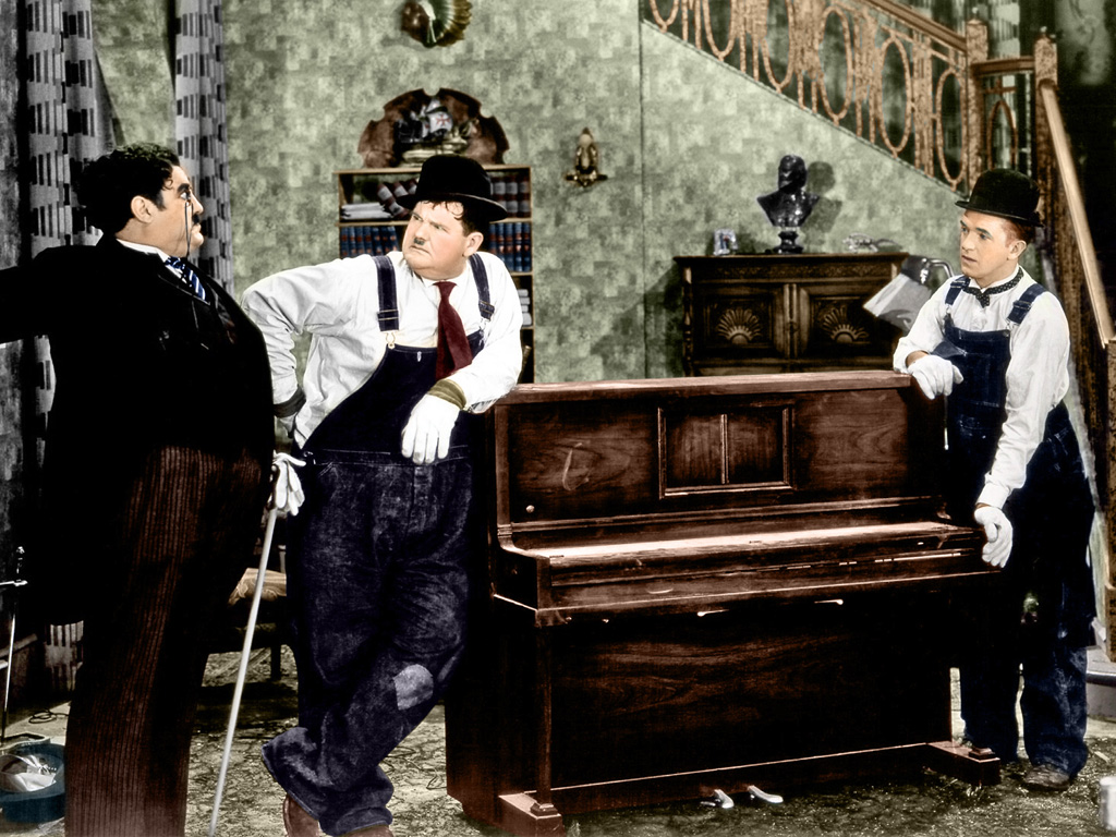 Laurel & Hardy With Billy Gilbert (L).