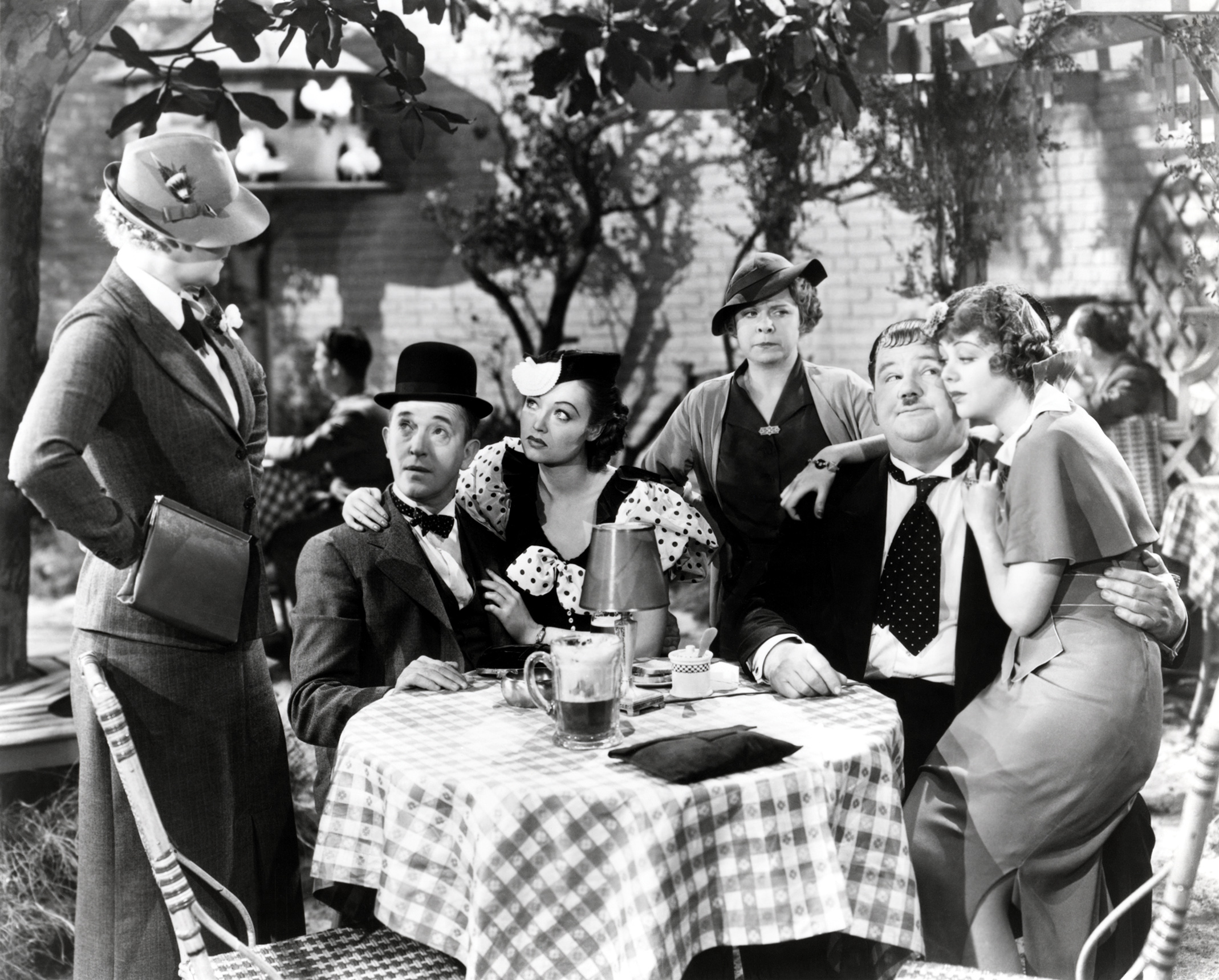 Laurel & Hardy with Ladies (L to R) Betty Healy, Lona Andre, Daphne Pollard, Iris Adrian