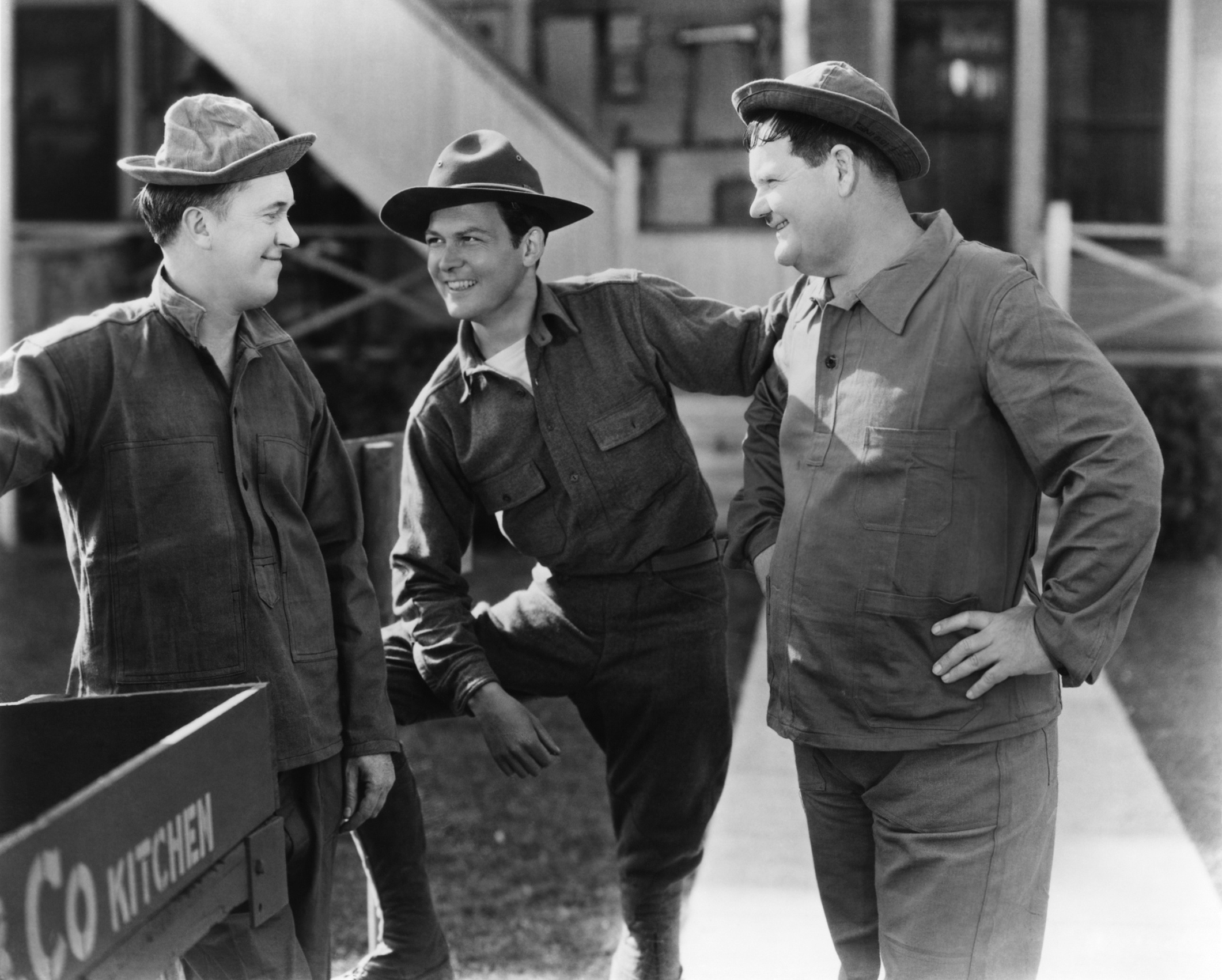 Laurel & Hardy with  (L to R) Noah Young, Stan Laurel, James Finlayson