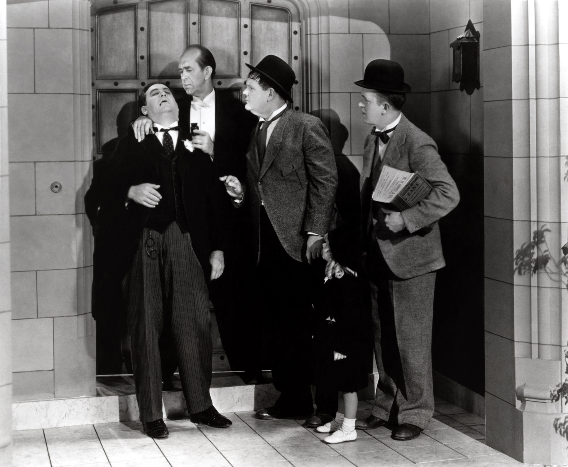 Laurel & Hardy with (L to R) Billy Gilbert, Al Hallett, Oliver Hardy, Jackie Lyn Dufton, Stan Laurel