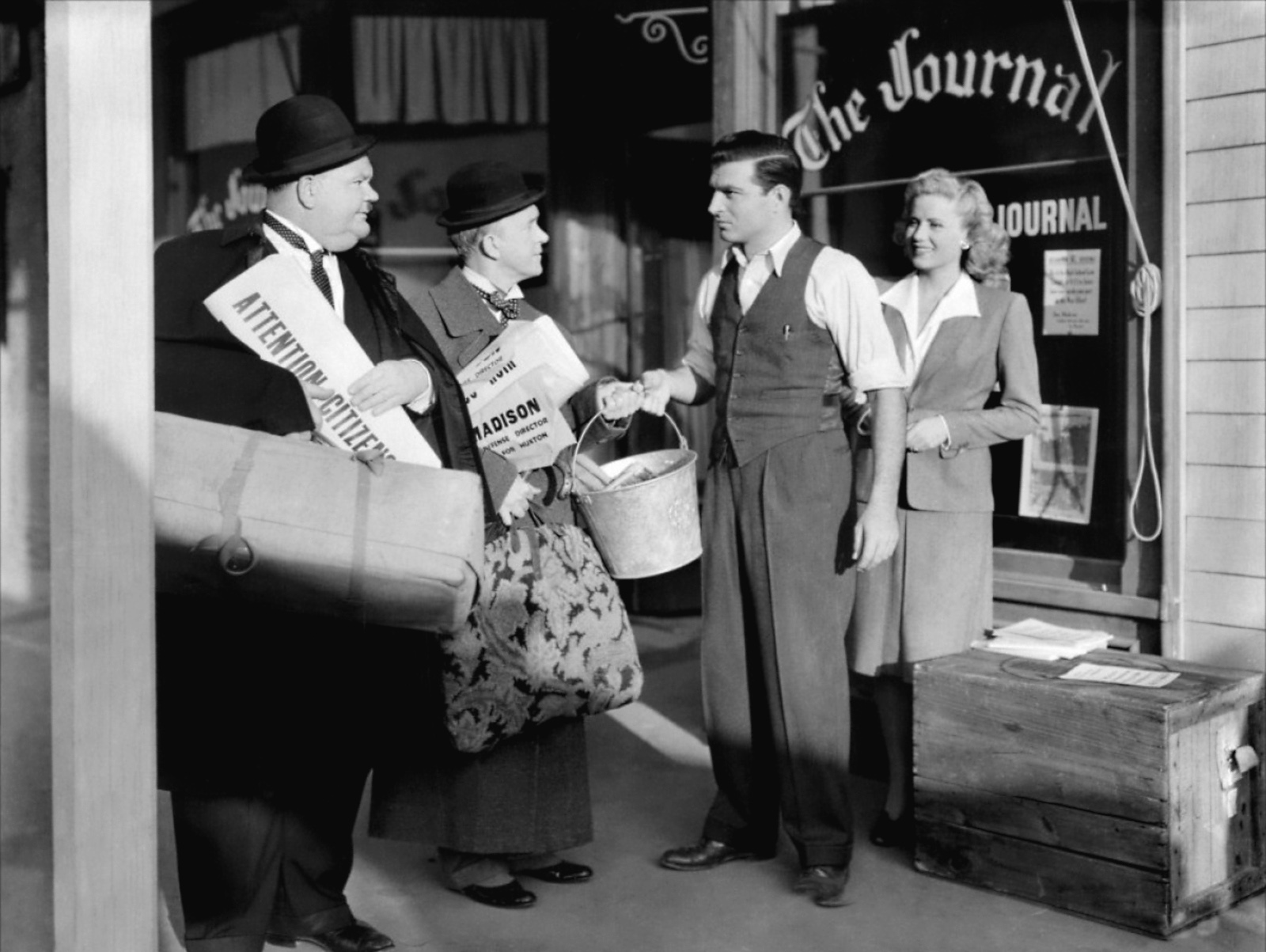 Laurel & Hardy With Stephen McNally and Jacqueline White (R)