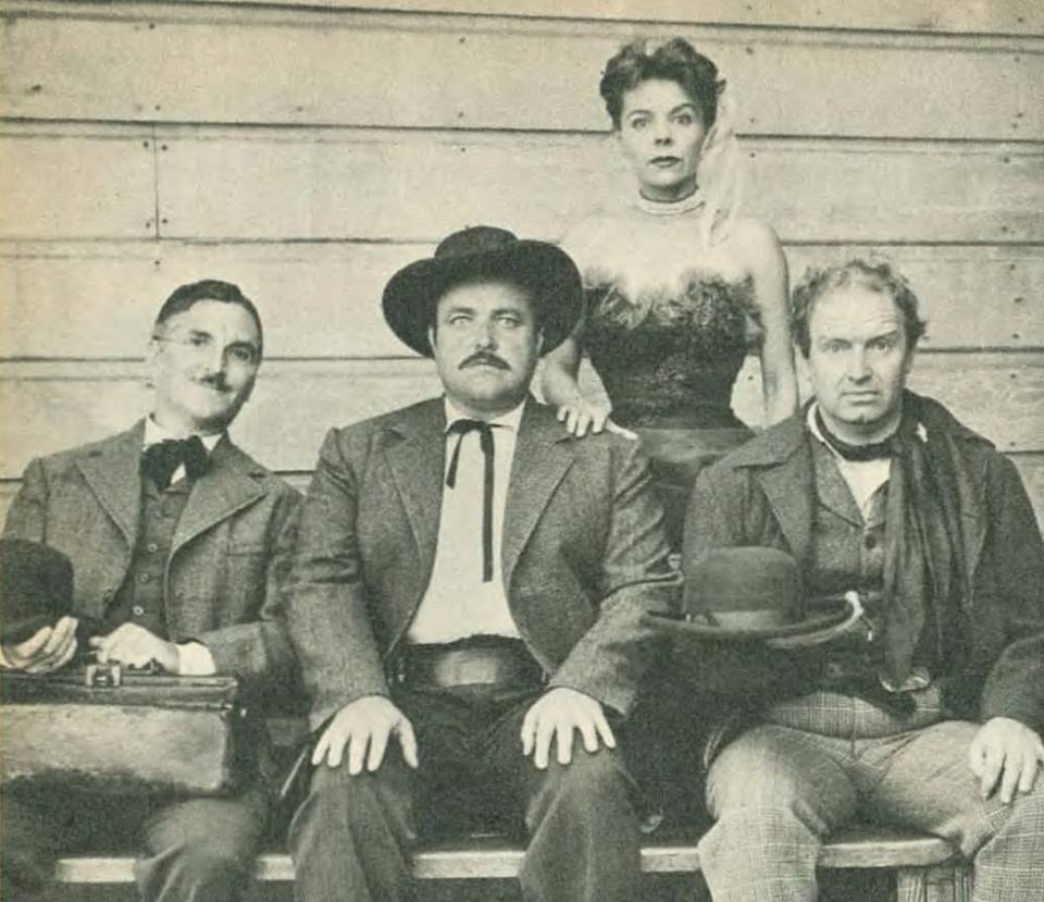 The Gunsmoke radio cast: Howard McNear (Doc), Bill Conrad (Matt), Georgia Ellis (Kitty), and Parley Baer (Chester).