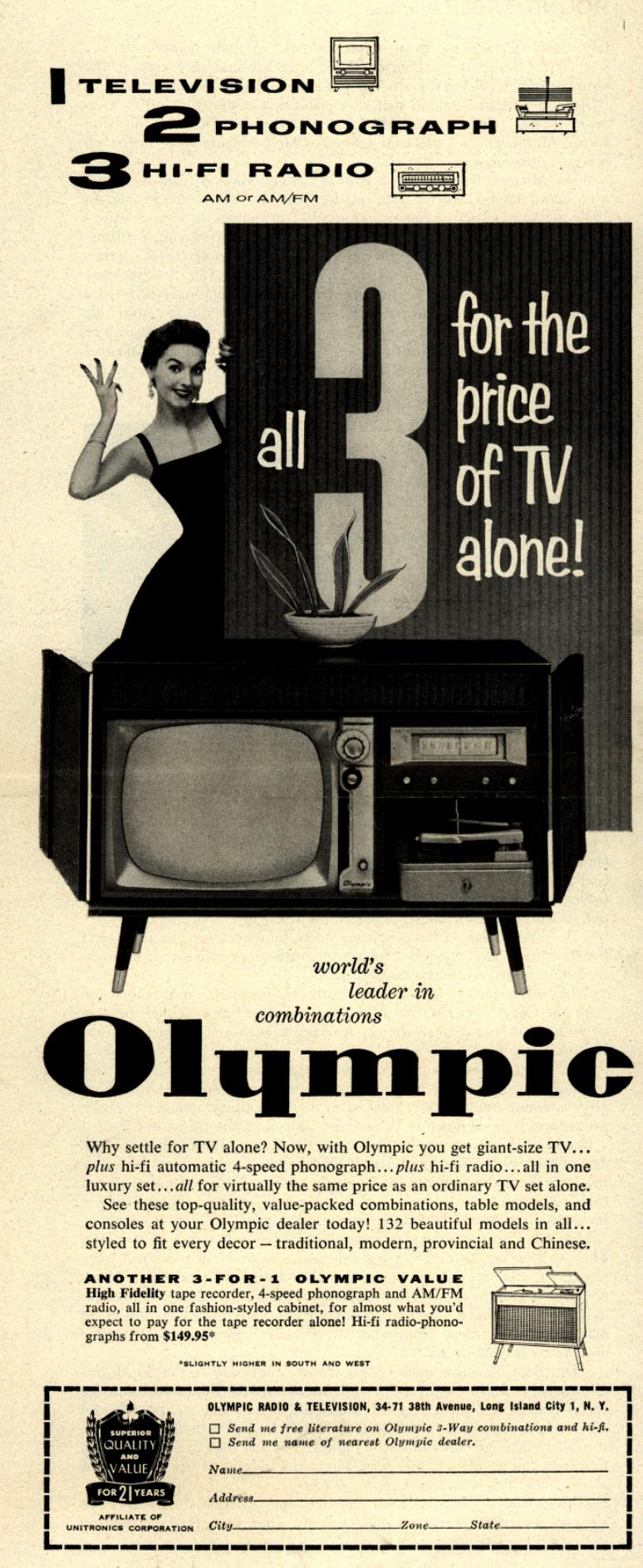 1_Television_2_Phonograph_3_Hi-Fi_Radio