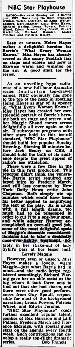 The Billboard revew of the premiere of NBC Star Playhouse from Oct 17 1953