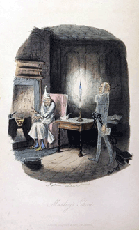1843 John Leech plate for Marley's Ghost from the first edition of Dickens' A Christmas Carol'