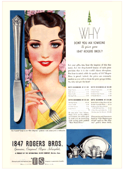 1932 Saturday Evening Post Rogers' Silver Advertisement highlighting its 'Her Majesty' design