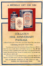 1906 Colgate and Company ad promoting the 100th Anniversary packaging for their dental and beauty products