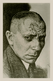 A gifted artist as well as actor, Jean Hersholt etched this impression of Eric von Stroheim during 1923