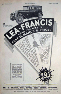 1929 Lea Francis coupé Advert. Lea Francis tantalizingly offered a Hyper 1.5 Litre Supercharged (Type S) coupé that year. Sounds like a Flying Squad type of vehicle, and a classic 'plain brown wrapper' to boot.