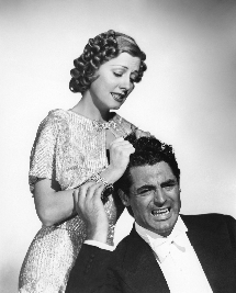 Irene Dunne and Cary Grant mug for publicity photo for The Awful Truth (1937)