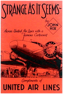 1937 United Airlines pamphlet of Strange As It Seems articles to entertain cross-country passengers