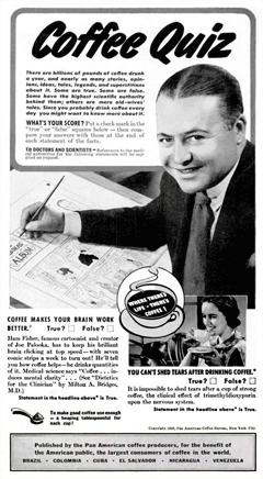 Ham Fisher as featured in a 1939 'Coffee Quiz' from Pan American coffee producers