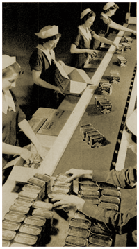 Female production line employees put the finishing touches on cases of SPAM (1939)