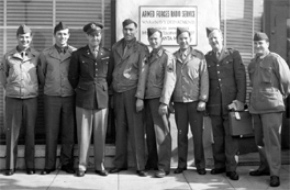 Elliott Lewis, Howard Duff, and Col Tom Lewis at the Hollywood AFRS complex.