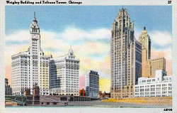 WBBM (CBS) was housed within The Wrigley Building (left). Competitor WGN was housed within the Chicago Tribune Tower (right)