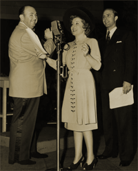 Paul Whiteman, Gracie Allen and Jimmy Cash at the NBC mike for Well I Swan