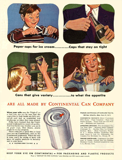 Continental Can Company ad from LIFE Magazine circa 1945