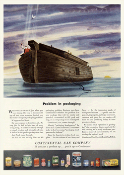 Here's one of Continental Can's more creative print ads from 1945 titled 'Problem In Packaging'
