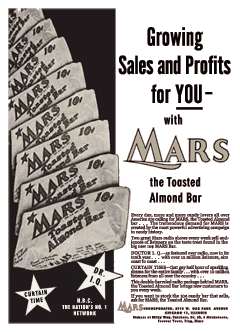 Mars made a big push to reintroduce its Mars Bar as a flagship confection for the company when it sponsored both Doctor I.Q. and Curtain Time.