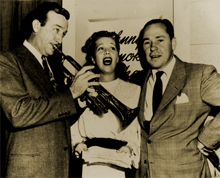 Harry James, Dinah Shore and Johnny Mercer mug backstage before Call for Music