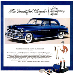 This is what all the hooplah was about. The 1949 Silver Anniversary Model Chrysler and its Prestomatic fluid drive transmission.