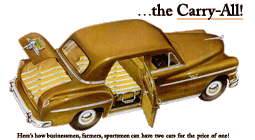One of the more novel models in Chrysler's 21-Model line-up for 1949 was this fascinating 4-Door De Soto Carry-All. Somewhat reminiscent of the Chrysler Town and Country Woodie Sedan but more utilitarian. It hauled passengers, manure, deer carcasses and groceries with equal ease.
