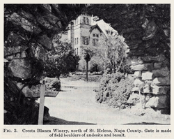 Entrance to the original Cresta Blanca Winery in Napa Valley circa 1950
