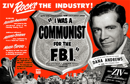 1952 Frederic Ziv broadside promoting I Was A Communist for The F.B.I.