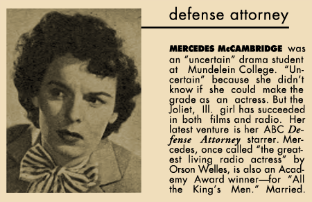 Mercedes McCambridge snapshot bio from 1952's Who's Who In Radio and Television