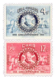Pre-Castro Cuba honored the 50th Anniversary of Rotary International with this pair of commemorative stamps from their 1954 issue.