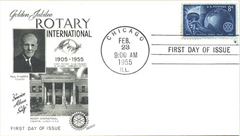 This highly collectible First Day Cover commemorating the 5oth Anniversary of Rotary International was franked at 9:00 a.m. on February 23, 1955, the day and hour of the official, world wide kickoff celebration of Rotary's Golden Anniversary