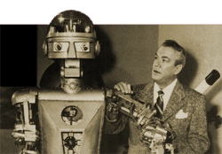 Most of us--'of a certain age'--more closely identify Truman Bradley with Frederick Ziv's Science Fiction Theatre (1955-1957) over Television. He's seen here with 'Garco' the Robot.