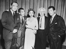 In good company -- Left to right, George Sanders, Ed Sullivan, Ida Lupino, Richard Hearne, and Howard Duff, ca. 1957