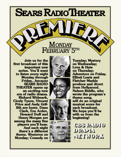 Announcement insert for the premiere of Sears Radio Theatre from February 1979. Note that Lorne Greene wasn't included since he still hadn't signed his contract with CVI until March of 1979