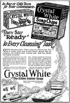 1924 Peet Brothers ad promoting their Crystal White Soap Chips, 'The Billion Bubble Soap'