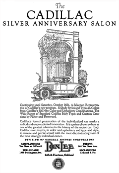 Don Lee Cadillac Dealership announcement of The Cadillac Silver Anniversary Salon from October 13th 1926