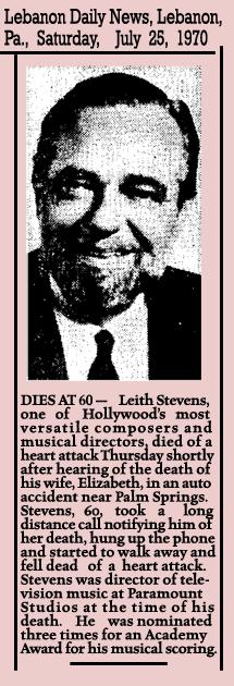 Leith Stevens obituary