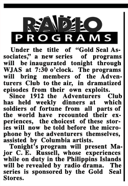 First announced Adventurers Club program in a 15-minute format remarkably similar to The World Adventurers Club from Indiana Evening Gazette June 13 1930