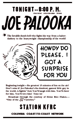 The Story of Joe Palooka Premiere spot ad from April 12 1932 for Heinz Rice Flakes