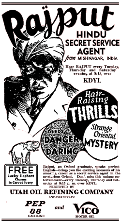 Rajput Hindu Secret Service Agent spot ad from the Radio adventure serial of 1932
