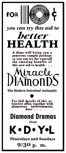 Miracle Diamonds spot ad from February 8 1934
