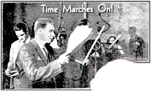 Ted De Corsia (far left) appears with Harry Von Zell as one of the ensemble actors for Time Marches On! (1934)