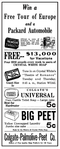 Colgate-Palmolive-Peet launched their 13-week Vacation Contest with the Theatre of Romance broadcast of May 31st 1935