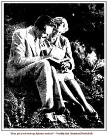 Natalie Park poses with John Pickard to illustrate an installment of a weekly love story circa 1935