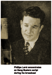 Caption: Phillips Lord concentrates on Gang Busters script during the broadcast (1936)