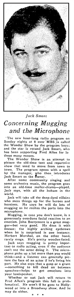 Syndicated 'The Radio Reporter' article by William L. Stuart from August 23 1936 Oakland Tribune promoting Jack Smart's Mutual program, the Wonder Show.
