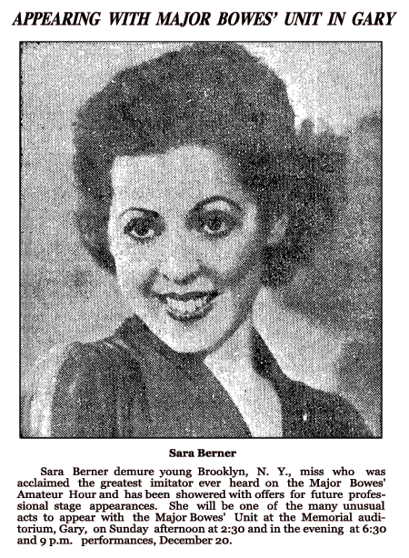 The December 18th 1936 edition of the Hammond Times showcased voice find Sara Berner for her forthcoming appearance at Gary, Indiana's Memorial Auditorium
