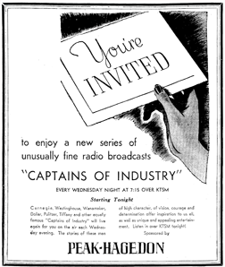 Peak-Hagedon Funeral Home sponsored the entire 1937 run of Captains of Industry in El Paso, Texas