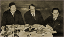 Milton Cross, Graham McNamee and Ben Grauer share a meal of Chili Con Carne circa 1938
